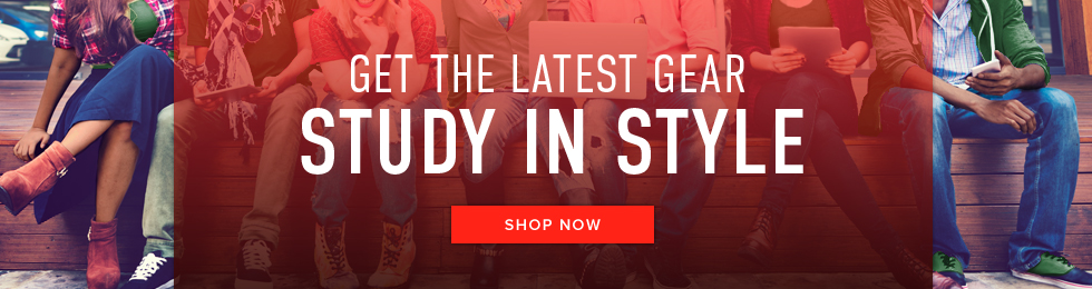 Picture of students. Get the latest gear. Study in Style. Click to shop now.